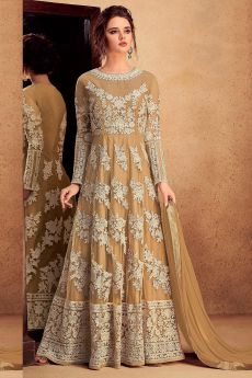 Majestic Beige Anarkali Suit in Net with Matching Dupatta