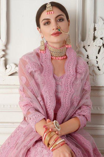 Pink Net Lehenga Choli with Embroidery