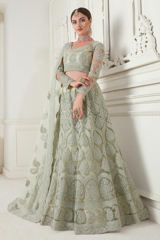 Sage Green Net Lehenga Choli with Embroidery