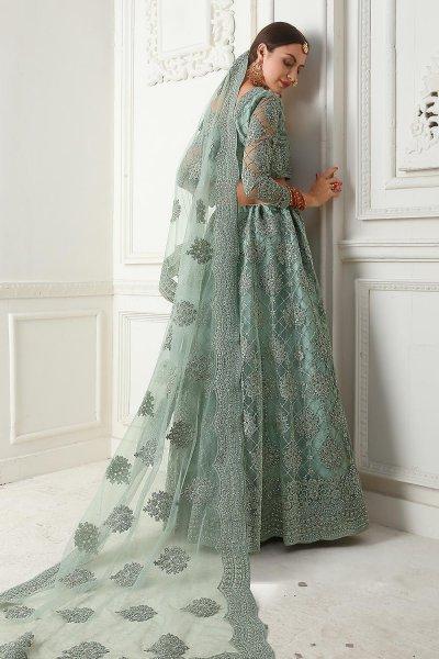 Seafoam Green Net Lehenga Choli with Embroidery