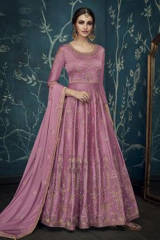 Enchanting Light Magenta Embroidered Anarkali Suit with Dupatta in Satin Silk