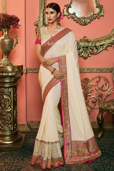 Off White Embellished Silk Saree