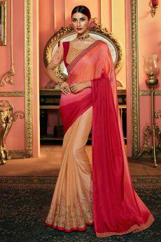Peach & Pink Zari Embroidered Satin Silk Saree