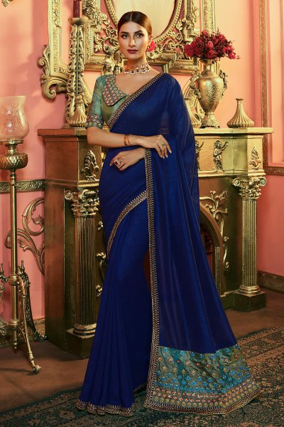 Ink Blue Embellished Silk Saree