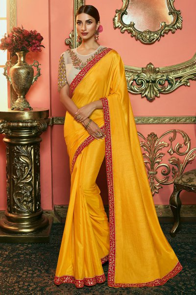 Mustard Zari Embroidered Silk Saree