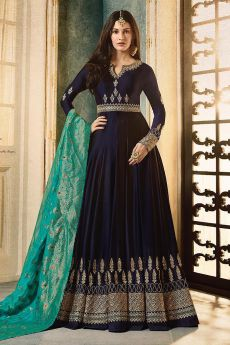 Navy Blue Embroidered Anarkali Suit in Satin Georgette
