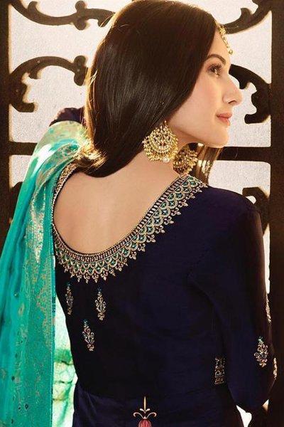 Navy Blue Embroidered Anarkali Suit in Satin Georgette