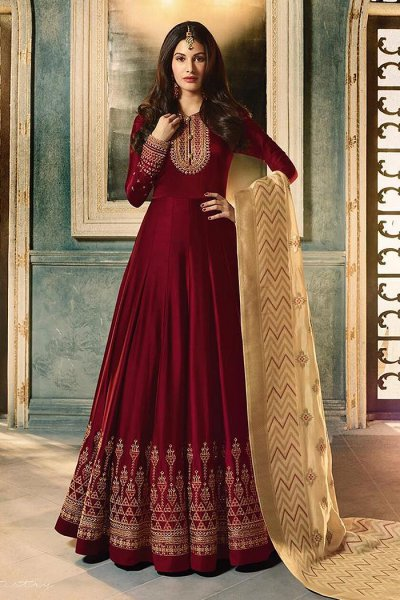 Maroon Embroidered Anarkali Suit in Satin Georgette