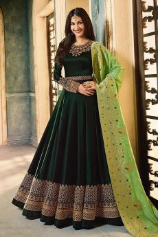 Bottle Green Embroidered Anarkali Suit in Satin Georgette