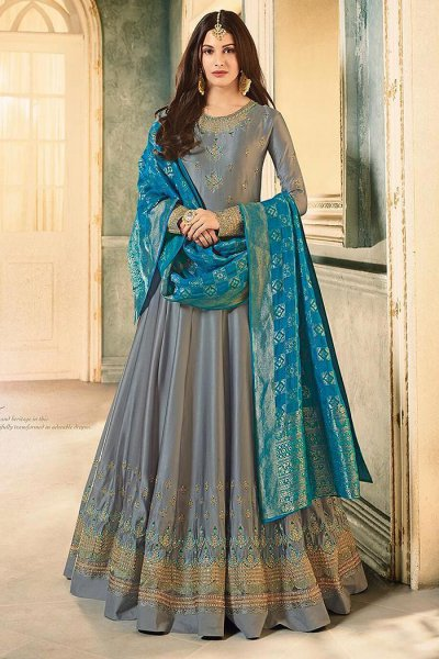 Grey Embroidered Anarkali Suit in Satin Georgette