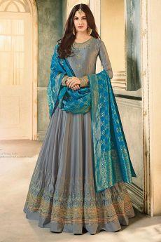 Grey Embroidered Anarkali Suit in Satin Georgette