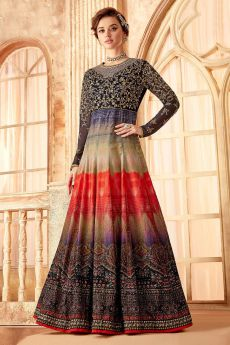 Multicolor Embroidered Evening Gown in Velvet