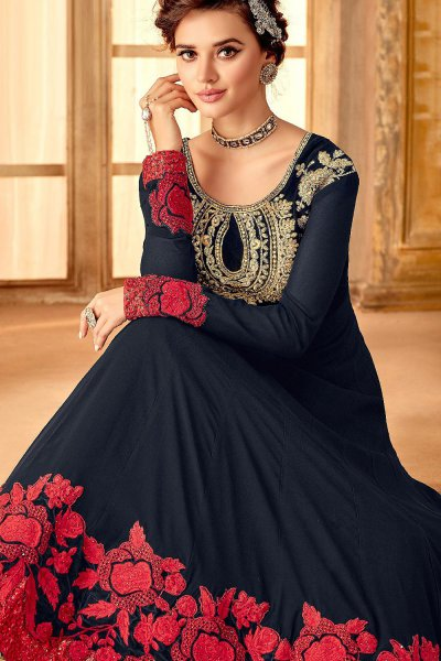 Navy Blue Embroidered Evening Dress in Georgette