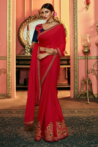 Beautiful Red Zari Embroidered Silk Saree