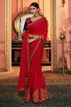 Beautiful Red Zari Embroidered Silk Saree