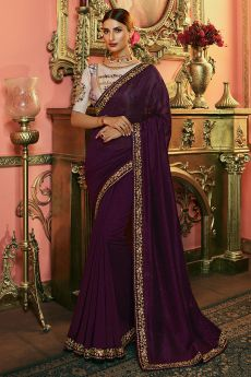 Violet Zari Embroidered Silk Saree