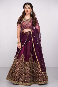Purple Silk Lehenga Choli with Zari Embroidery