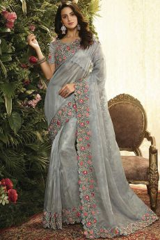 Grey Floral Embroidered Party Wear Saree in Organza