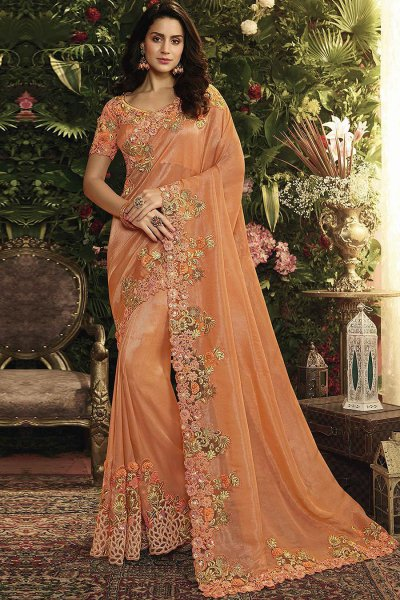Orange Floral Embroidered Party Wear Saree