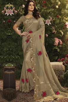 Tan Floral Embroidered Part Wear Saree