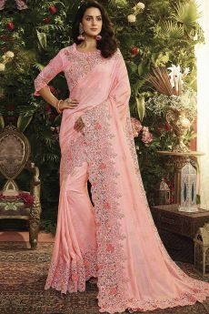 Rose Pink Floral Embroidered Saree