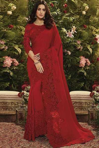 Red Floral Embroidered Party Wear Saree