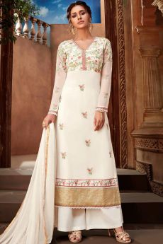 Off-White Georgette Embroidered Palazzo Set
