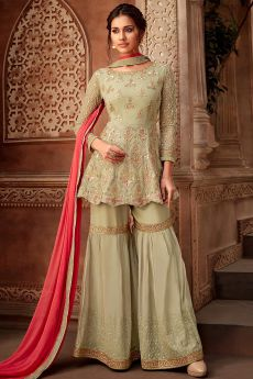 Pista Green Georgette Zari Work Sharara Suit