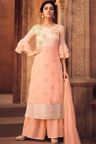 Peach Georgette Sequin Work Palazzo Suit
