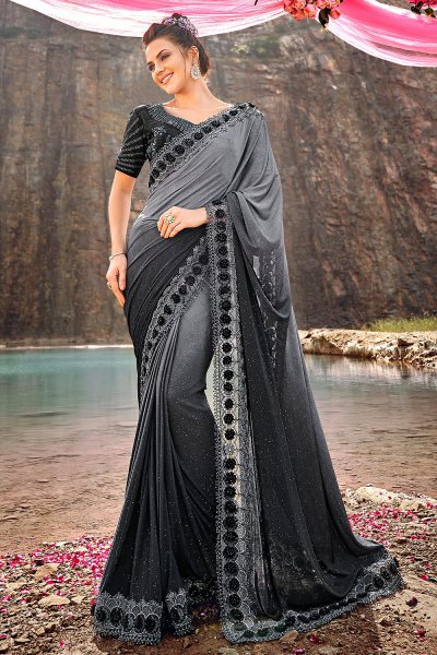 Designer Ombré Grey Embroidered Party Wear Saree