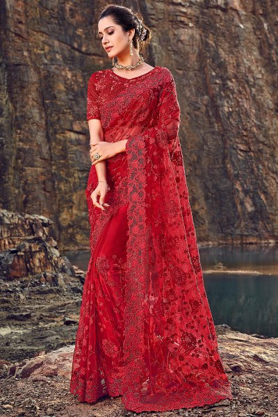 Designer Crimson Red Embroidered Party Wear Saree