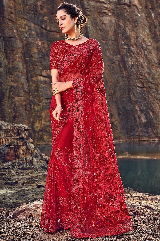 Designer Crimson Red Embroidered Party Wear Saree