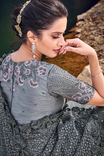 Designer Grey Embroidered Party Wear Saree