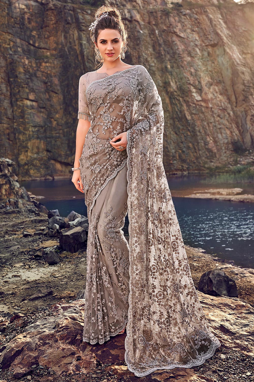Designer Taupe Embroidered Party Wear Saree