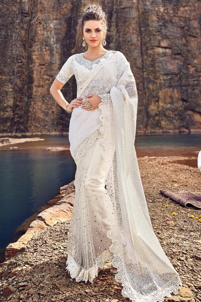 Designer White Embroidered Party Wear Saree