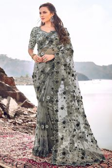 Designer Grey Embroidered Party Wear Saree