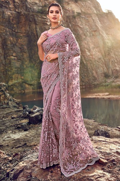 Designer Mauve Embroidered Party Wear Saree