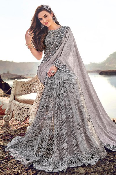 Designer Silver Grey Embroidered Party Wear Saree