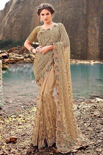 Designer Golden Beige Embroidered Party Wear Saree