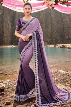 Designer Ombré Purple Embroidered Party Wear Saree