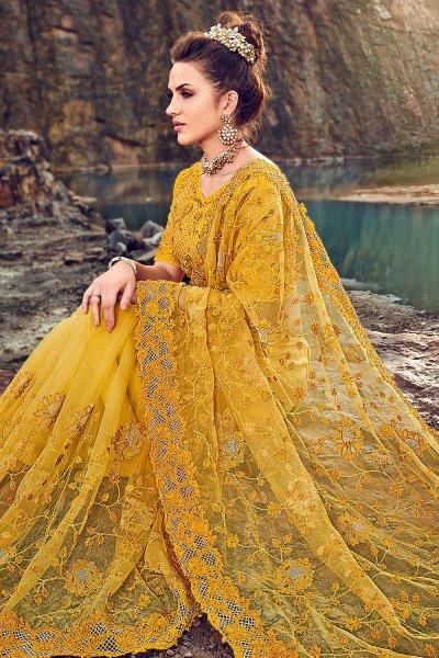 Designer Mustard Embroidered Party Wear Saree