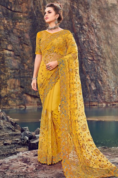 Designer Mustard Embroidered Party Wear Saree