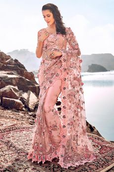 Designer Pastel Pink Embroidered Party Wear Saree