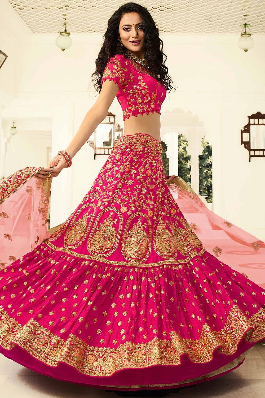 Pink Zari Embroidered Lehenga Choli in Silk with Net Dupatta