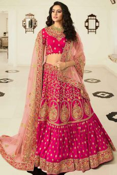 Pink Zari Embroidered Lehenga Choli in Silk with Net Dupatta