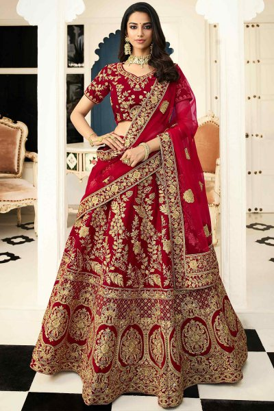 Cherry Red Designer Silk Lehenga Choli with Net Dupatta