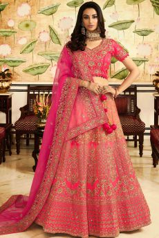Peach Pink Silk Zari Embroidered Lehenga Choli Set