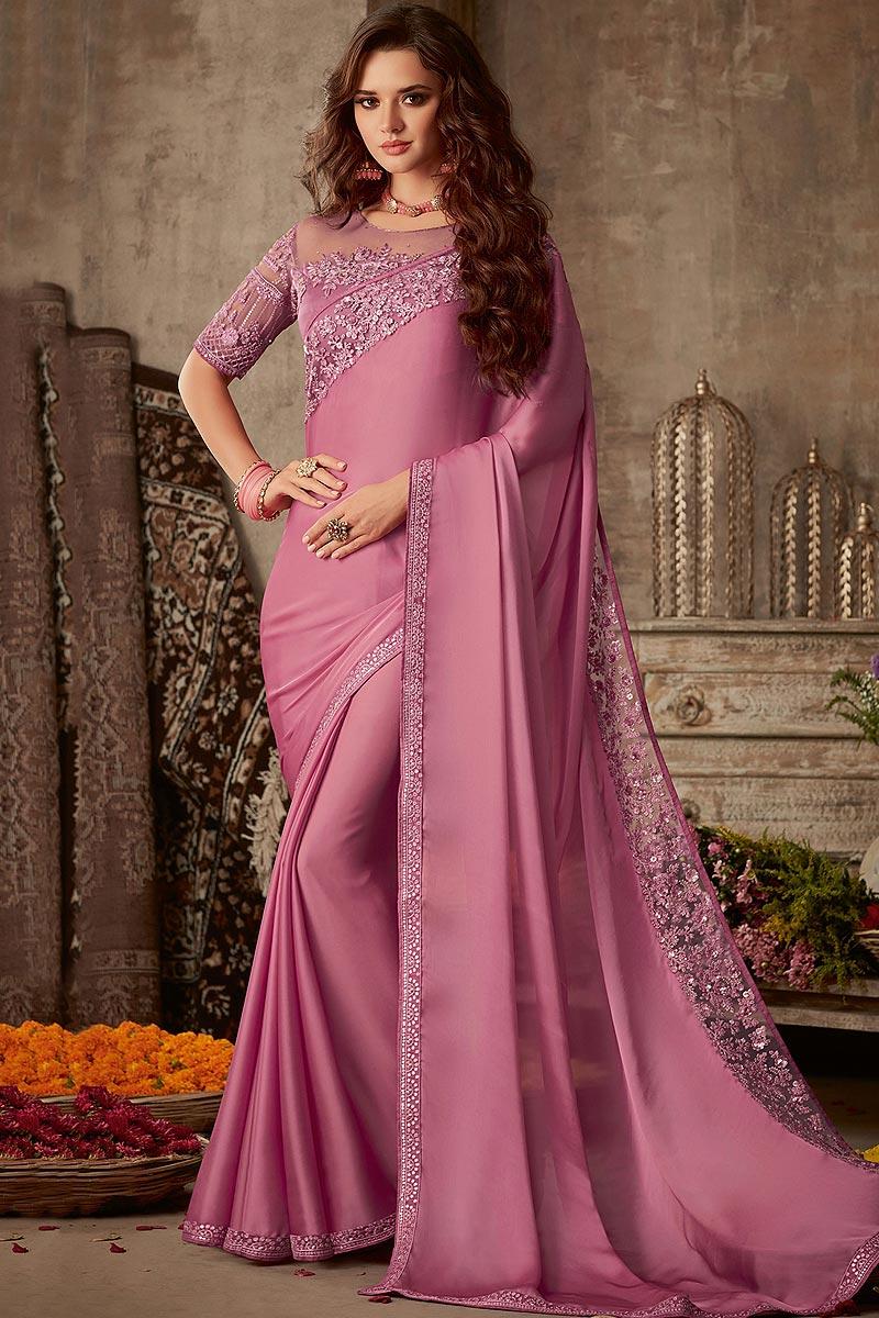 Buy Pink Designer Silk Saree Online | Like A Diva
