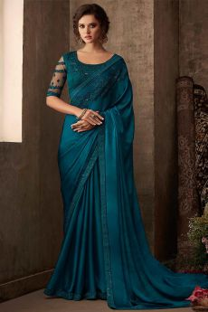 Dark Teal Designer Silk Saree