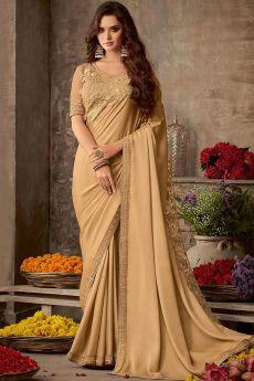 Beige Designer Silk Saree
